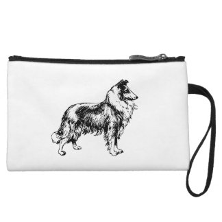 Rough Collie dog beautiful illustration, gift Wristlet Purses