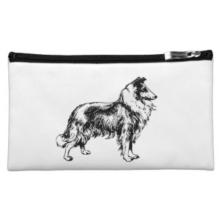 Rough Collie dog beautiful illustration, gift Cosmetics Bags