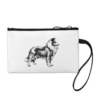 Rough Collie dog beautiful illustration, gift Change Purses