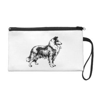 Rough Collie dog beautiful illustration, gift Wristlet Purse