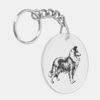 Rough Collie dog beautiful illustration keychain Acrylic Key Chain