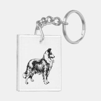 Rough Collie dog beautiful illustration keychain Acrylic Keychain