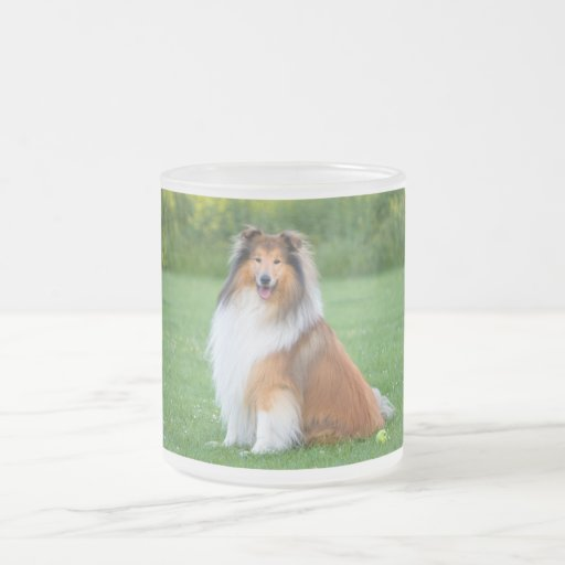 Rough Collie dog beautiful photo frosted glass mug