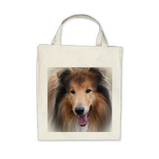 Rough Collie dog beautiful photo grocery tote bag