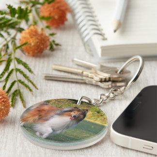 Rough Collie dog beautiful photo portrait, gift Double-Sided Round Acrylic Key Ring