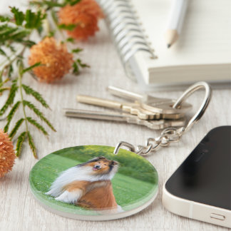Rough Collie dog beautiful photo portrait, gift Double-Sided Round Acrylic Key Ring