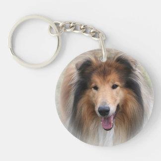 Rough Collie dog beautiful photo portrait, gift Single-Sided Round Acrylic Key Ring