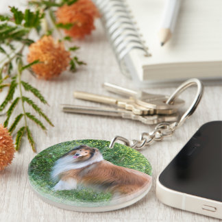 Rough Collie dog beautiful photo portrait, gift Double-Sided Round Acrylic Keychain