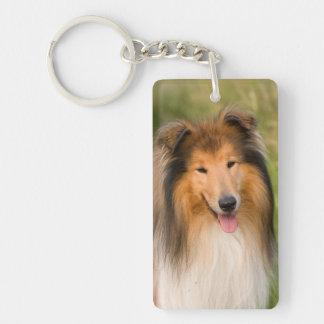 Rough Collie dog beautiful photo portrait, gift Double-Sided Rectangular Acrylic Key Ring