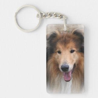 Rough Collie dog beautiful photo portrait, gift Single-Sided Rectangular Acrylic Key Ring