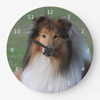 Rough collie dog beautiful photo portrait large clock