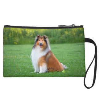 Rough Collie dog beautiful photo suededmini clutch Wristlet Clutches