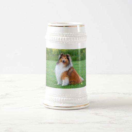 Rough Collie dog beautiful photo tankard, stein Mug