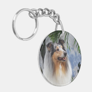 Rough Collie dog blue merle beautiful photo, gift Double-Sided Round Acrylic Key Ring