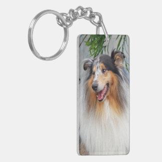 Rough Collie dog blue merle beautiful photo, gift Double-Sided Rectangular Acrylic Key Ring