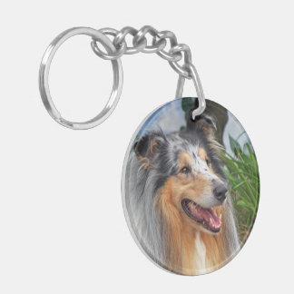 Rough Collie dog blue merle beautiful photo Double-Sided Round Acrylic Key Ring