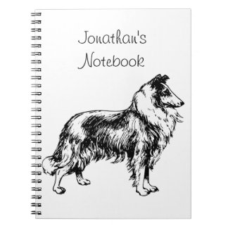 Rough Collie dog illustration custom boys name Spiral Note Books