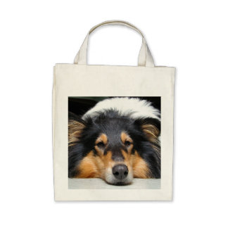 Rough collie dog nose beautiful grocery tote bag