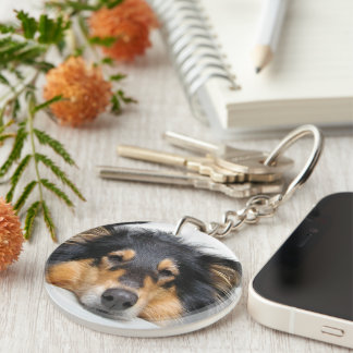 Rough Collie dog nose beautiful photo portrait Double-Sided Round Acrylic Key Ring