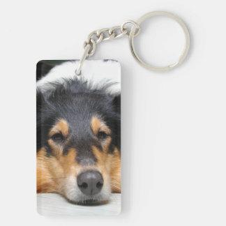 Rough Collie dog nose beautiful photo portrait Double-Sided Rectangular Acrylic Key Ring