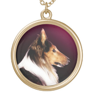 Rough Collie Dog Portrait Gold Plated Necklace