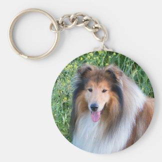 Rough Collie dog portrait keychain, present idea Basic Round Button Key Ring