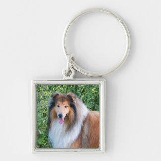 Rough Collie dog portrait keychain, present idea