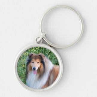 Rough Collie dog portrait keychain, present idea Silver-Colored Round Key Ring