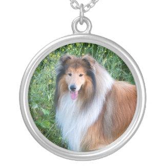 Rough Collie dog portrait necklace, present idea Round Pendant Necklace