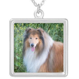 Rough Collie dog portrait necklace, present idea Square Pendant Necklace