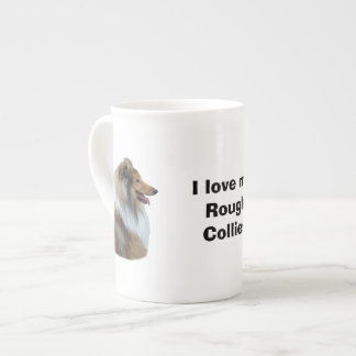 Rough Collie dog portrait photo Bone China Mugs