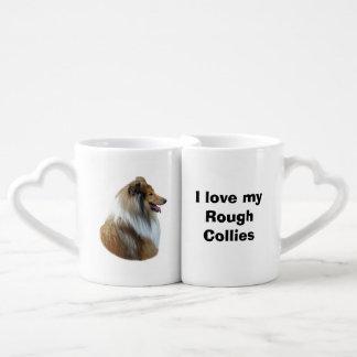 Rough Collie dog portrait photo Coffee Mug Set