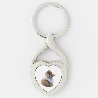 Rough Collie dog portrait photo Key Chains