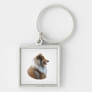Rough Collie dog portrait photo Keychain