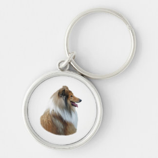 Rough Collie dog portrait photo Keychains