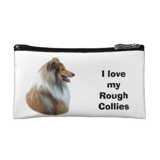Rough Collie dog portrait photo Makeup Bag
