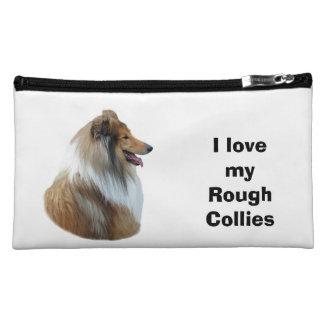 Rough Collie dog portrait photo Makeup Bags