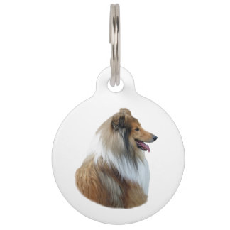 Rough Collie dog portrait photo Pet ID Tag