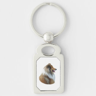 Rough Collie dog portrait photo Silver-Colored Rectangle Key Ring