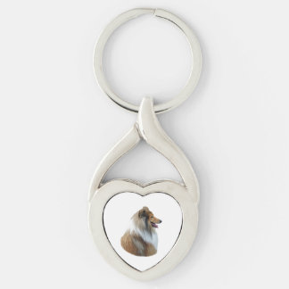 Rough Collie dog portrait photo Silver-Colored Twisted Heart Key Ring