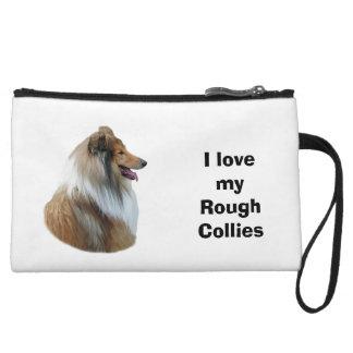 Rough Collie dog portrait photo Wristlet Clutches