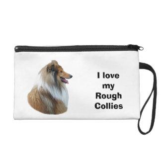 Rough Collie dog portrait photo Wristlet Purse