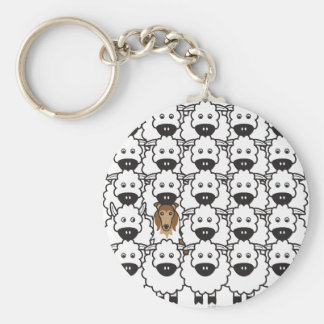 Rough Collie in the Sheep Basic Round Button Key Ring