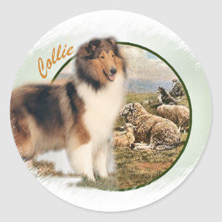 Rough Collie Keeper of the Sheep Round Sticker