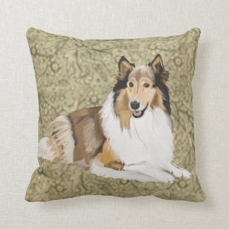 Rough Collie on a Brown Floral background Cushion