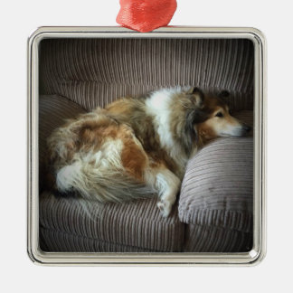 Rough collie on armchair metal ornament