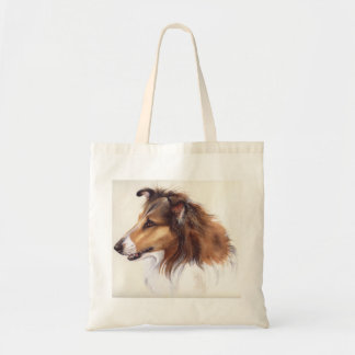 Rough Collie Painted in Watercolour Budget Tote Bag