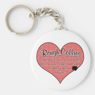 Rough Collie Paw Prints Dog Humor Keychains