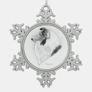 Rough Collie Pen and Ink - Juliet Vs VAlley Fever Snowflake Pewter Christmas Ornament