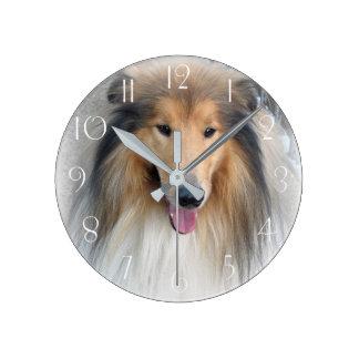 Rough collie portrait round clock